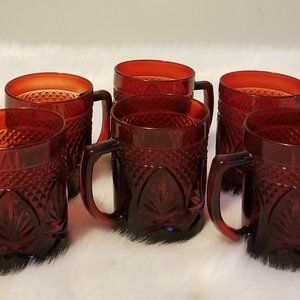 6.Mugs Antique Ruby by CRISTAL D'ARQUES-DURAND